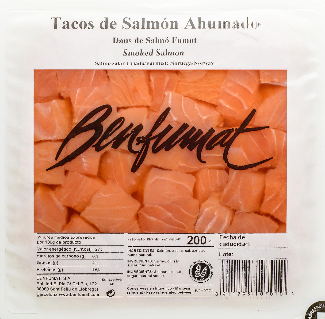 Salmón Ahumado en Tacos 200 gr.